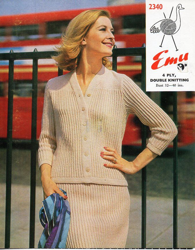 1fbdda066 vintage womens cardigan skirt suit knitting pattern pdf ladies rib jacket  skirt set 32-40