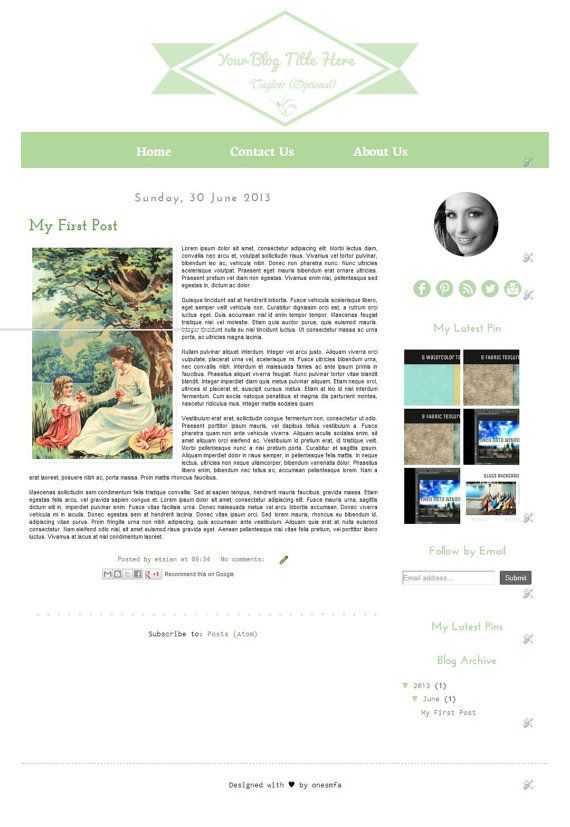 Premade Blogger Template  Light Green  Instant Download by ONESMFA, $6.00