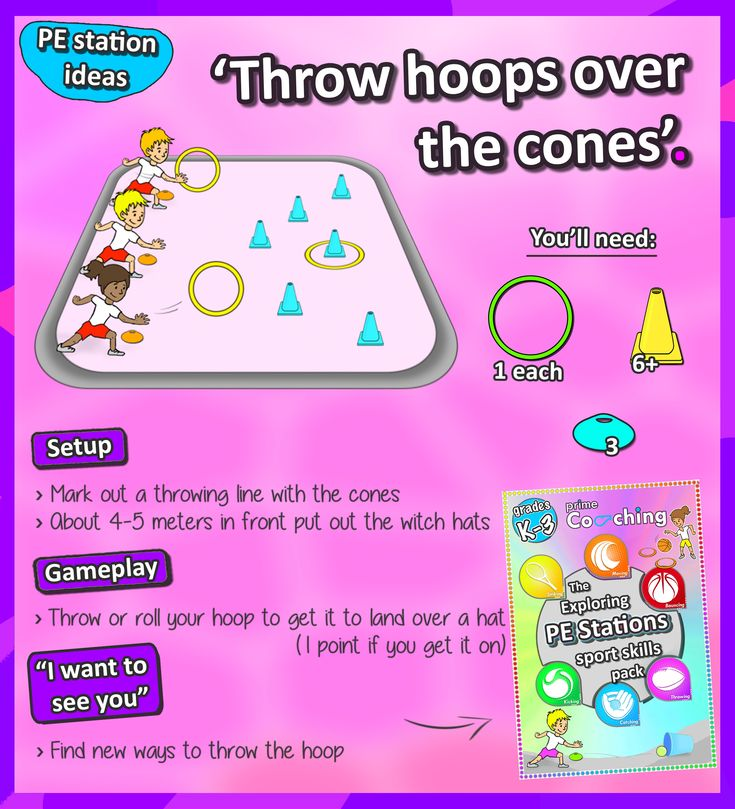• Throw hoops over the cones • A great way to challenge your students' depth-perception skills with this fun PE sport station - check out loads more awesome sport ideas for you lessons