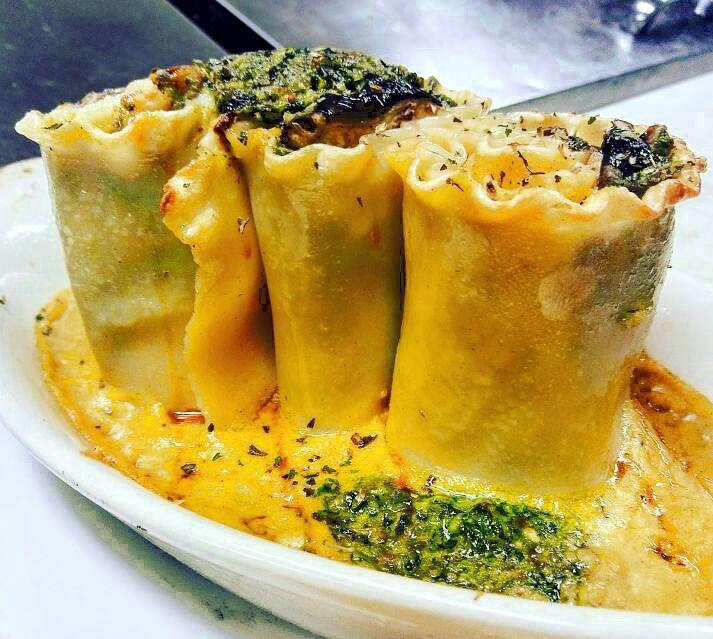Wild Mushroom & Dinosaur Kale-Pecan Pesto Lasagna Pinwheels over Roasted Butternut Squash & Sage Sauce