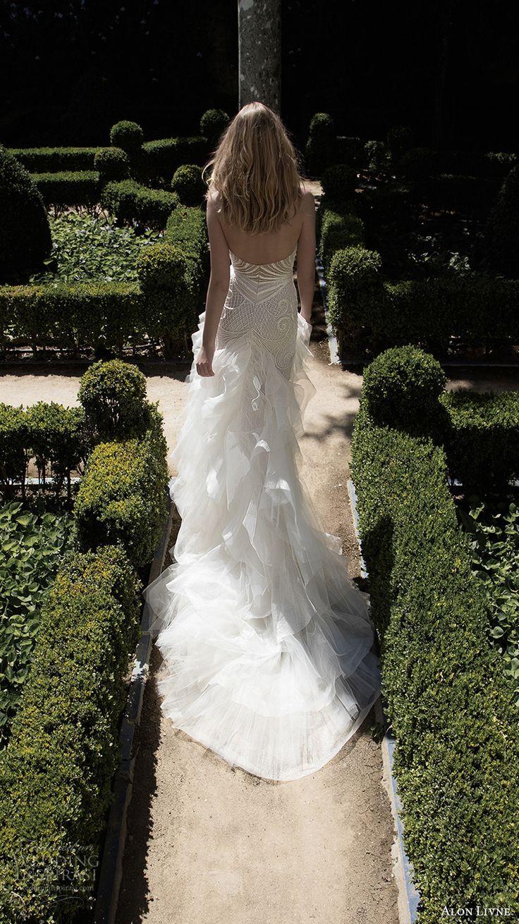 alon livne 2017 bridal strapless sweetheart neckline full embroidered elegant sexy sheath wedding dress chapel train (adriana) bv
