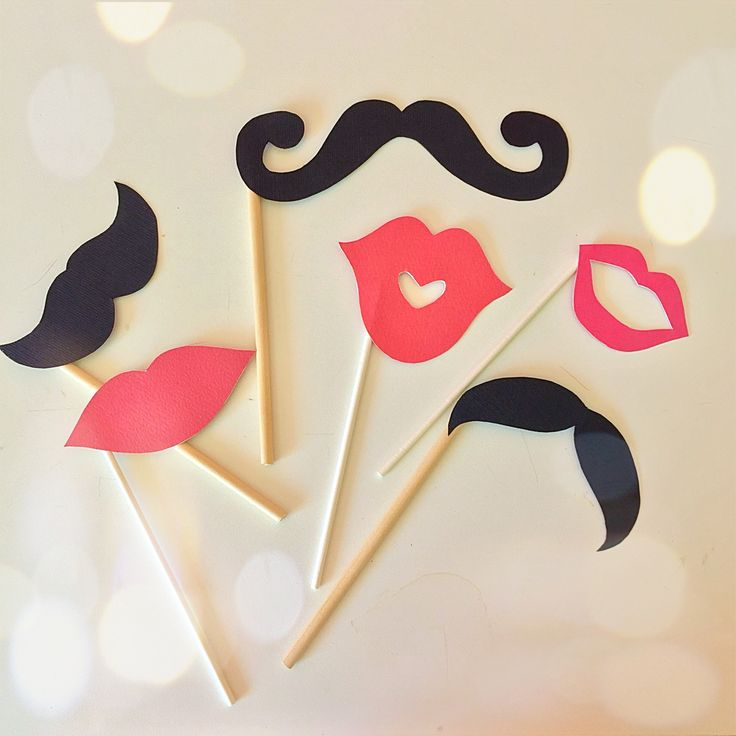 Mustache and mouth Props for a party - DIY
