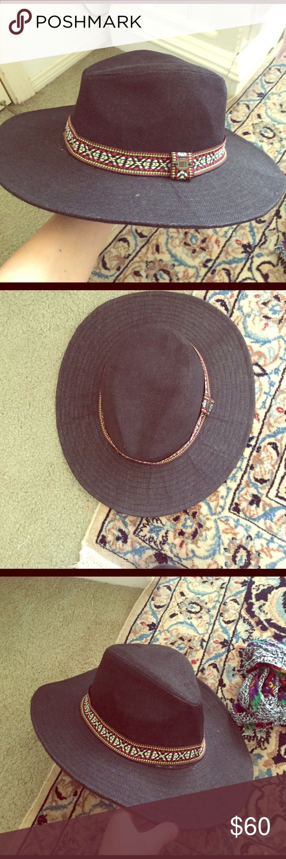 Wide brimmed hat Wide brimmed hat fedora hat hipster hat sun hat Aztec print band tribal print band boho Coachella festival summer by obey from urban outfitters Native American hat western Urban Outfitters Accessories Hats