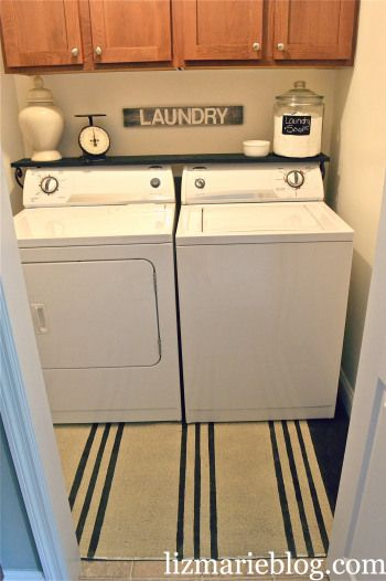 laundry shelf. Love the idea of washing detergent in a canister.