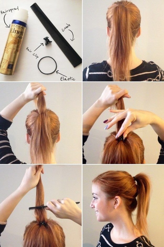 Get some much needed ponytail height with a little butterfly hair clip. | 27 Hairstyling Hacks Every Ponytail Wearer Must Try