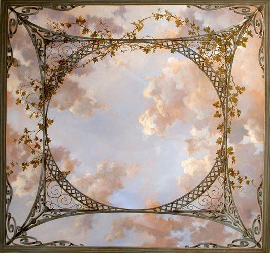 Trompe l'oeil:  cloud ceiling with lattice