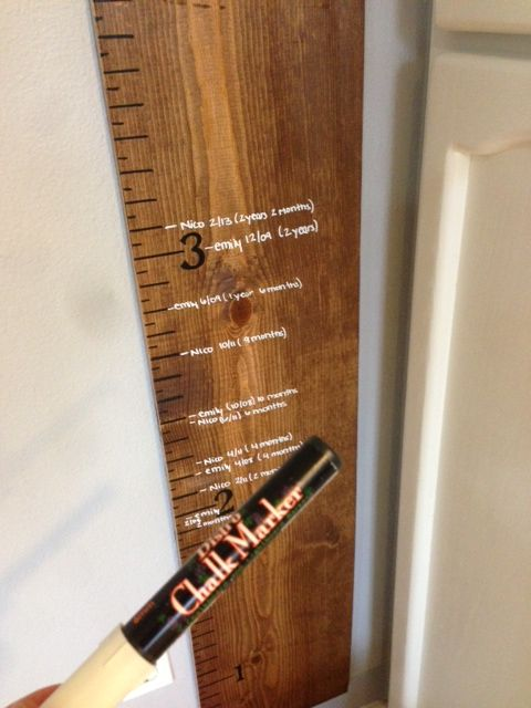 Easy DIY Wooden Growth Chart for around $15. So easy! Just need to make the time. Have wanted one for years!