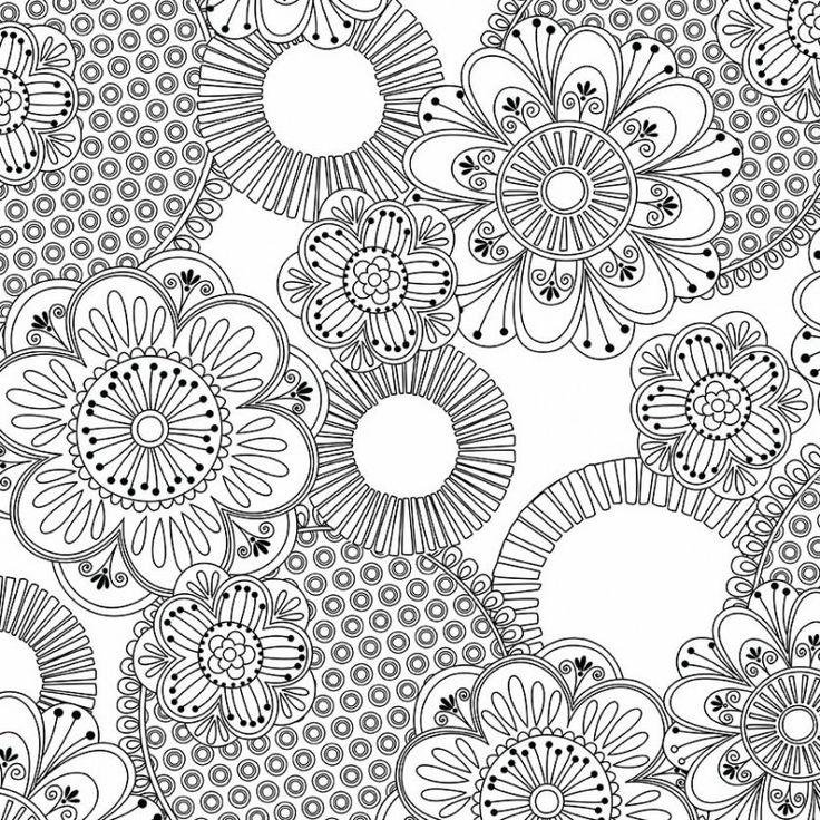 MMF/Color Me - ANTISTRESOVÁ BAVLNA - Retro květiny NA BÍLÉ/ČB