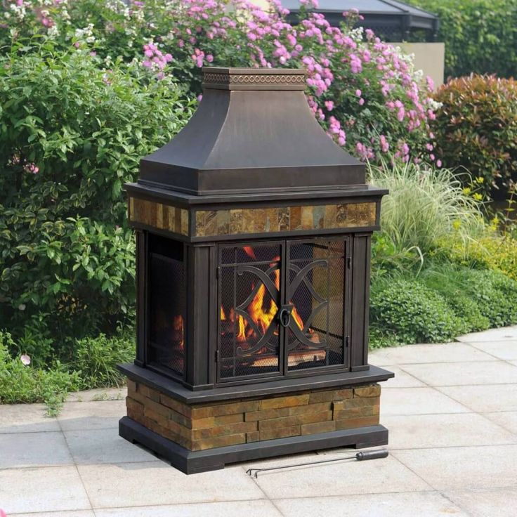 Exterior Design, Smart Standalone Outdoor Wood Burning Fireplace With  Closed Hearth And Upper Funnel In - 17 Best Ideas About Outdoor Wood Burning Fireplace On Pinterest