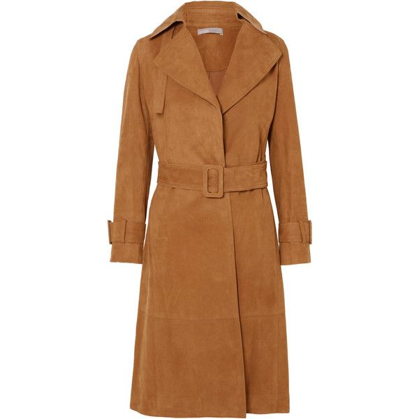 Vince Suede trench coat (6,490 PEN) ❤ liked on Polyvore featuring outerwear, coats, tan, suede coat, beige trench coat, tan trench coat, buckle coats and vince coat