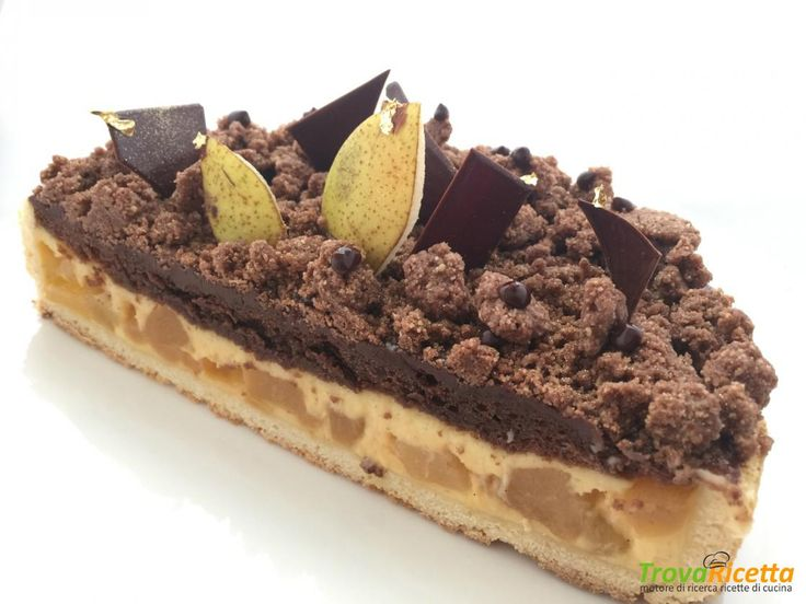 Crostata di crema, pere e cioccolato  #ricette #food #recipes