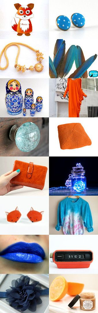 Orange and blue trends by Mona on Etsy--Pinned with TreasuryPin.com