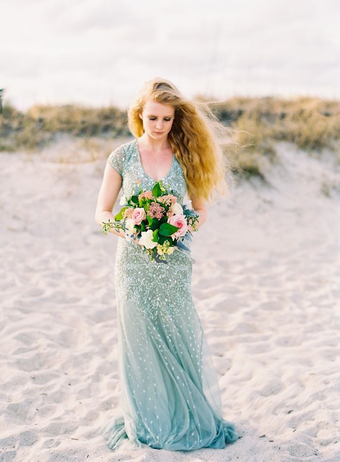 Adrianna Papell dusty blue bridesmaid gown / Romantic Summer Wrightsville Beach Wedding Inspiration / Photo by Bronwyn Duffield @blduffie / flowers by Fiore Fine Flowers / as seen on @SthrnBrideGroom SouthernBrideandgroom.com