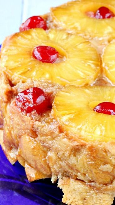Pineapple Upside-Down Bread Pudding Recipe ~ contains all the wonderful fruity flavors of the traditional upside-down cake, but in bread pudding form! This bread pudding cake has a caramelized top layer with a super moist, buttery, melt-in-your-mouth interior.