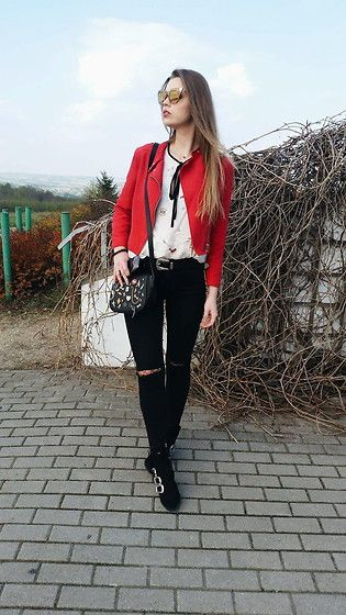 Get this look: http://lb.nu/look/8675171  More looks by Marcelline: http://lb.nu/madame_marcelline  Items in this look:  Bershka Red Jacket, Hm Shoes, Zara Blouse, Stradivarius Bag, Gamiss Sunglasses   #street #streetwear #streetstyle #poland #skinny #redjacket #blonde #spring #sunny