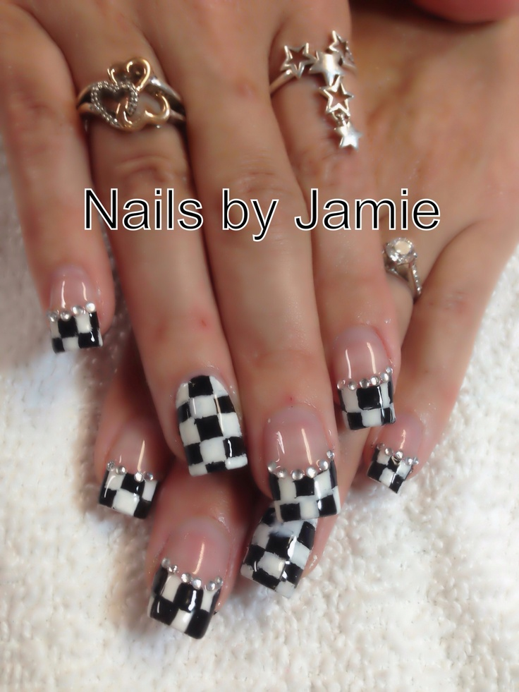Checkered Flag Nails by Jamie Duffield Eugene, Oregon (541) 541-556-8337 To book an appointment go to: www.styleseat.com/jamieduffield
