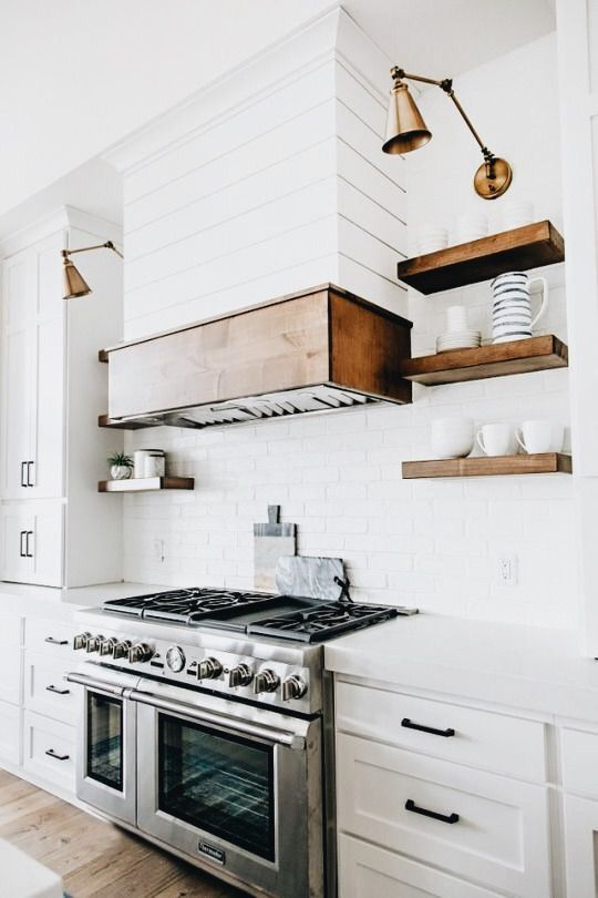 white kitchen with wood accents