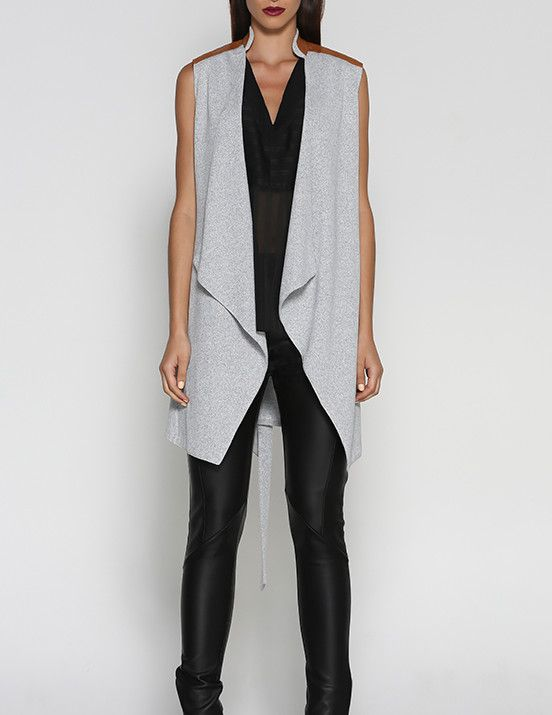 Grey Waterfall Vest - Blossom & Glow Maternity.  The Waterfall Vest is the perfect layering piece for pregnancy, breastfeeding, and post babies!  The Waterfall style is flattering to all shapes and sizes, and the vegan leather shoulders add a touch of class!  Team this with our Isla Jegging for pregnancy, or Ripped Jean for post babies.