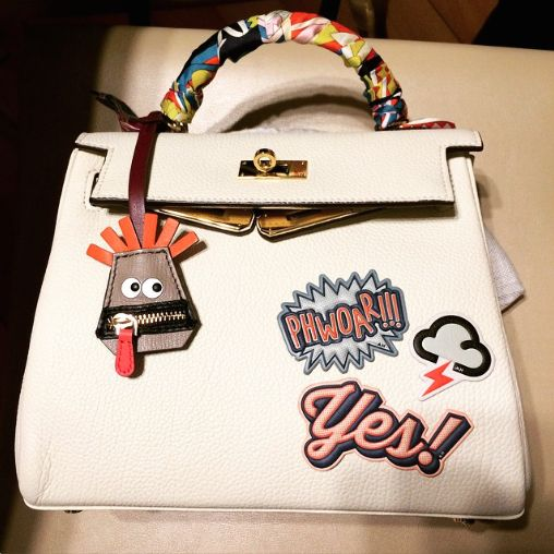 Anya Hindmarch Stickers on Hermes Kelly Bag 3