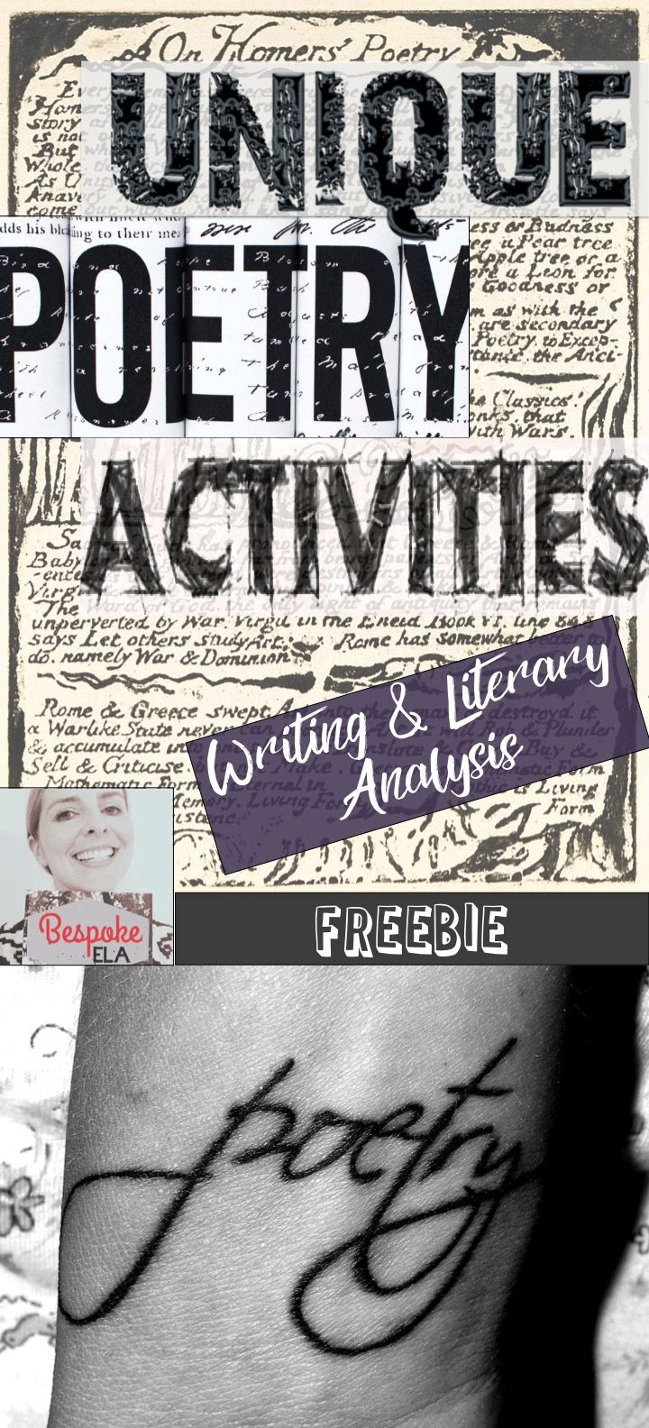 Here are some fun, interactive, and creative poetry activities by Bespoke ELA to get your students hooked on poetry. This list includes 5 creative writing poetry activities as well as 5 unique poetry analysis strategies. These are great activities for introducing a poetry unit and are great ideas to integrate into poetry anthologies!  || Ideas and inspiration for teaching GCSE English || www.gcse-english.com ||