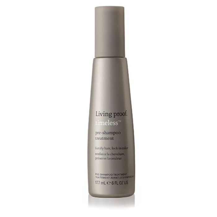 LIVING PROOF TIMELESS PRE-SHAMPOO TREATMENT Living Proof's fortifying treatment uses shampoo-activated color seal technology to keep your color looking fresh and vibrant between salon appointments. Apply a couple pumps to dry hair before you hop in the shower. First defense against age-related changes Fortifies hair, reducing breakage by 85% after one use Color Seal Technology
