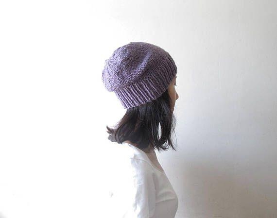 Melange Damson Plum Slouchy Beanie Purple Hand knit Chunky