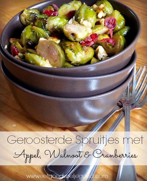 Geroosterde Spruiten met Appel, Walnoot en Cranberries   Wel even goed wassen in azijn en blancheren. Daarna weer afspoelen en ze zijn klaar voor gebruik. D