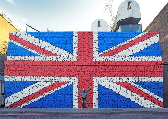 La letra de God save the queen en un mural que flipas