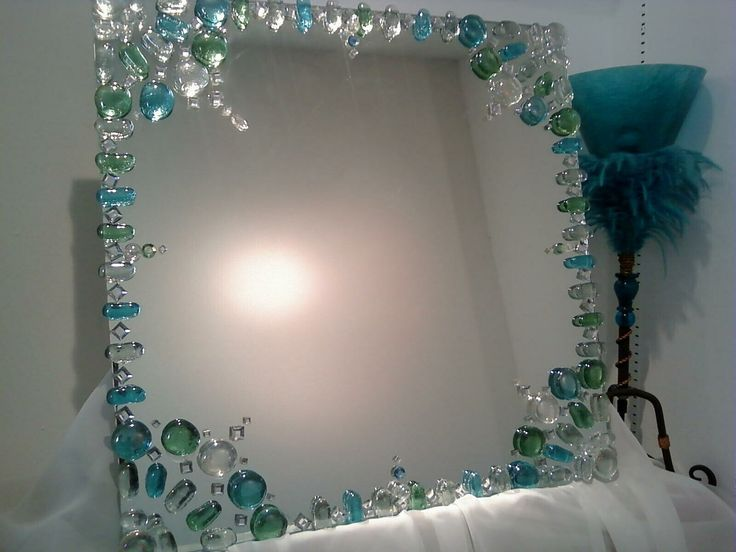Mirror design idea- decorating the edge with gems instead of frames