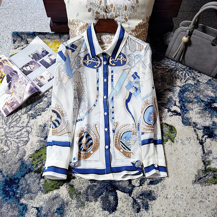 2017 Plus Size 100% Silk Blouse Women Blusas Vintage Shirt Women Clothing Desigual Tops Girl  Sail Pattern Print Blue White New