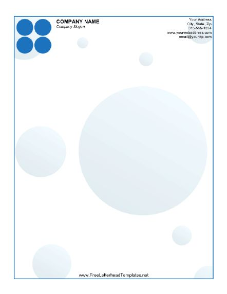 blue circles accent this printable letterhead  free to