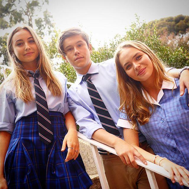 We wish we looked this cool at school #Neighbours @officialjaiwaetford @mavournee_hazel @lillyvandermeer