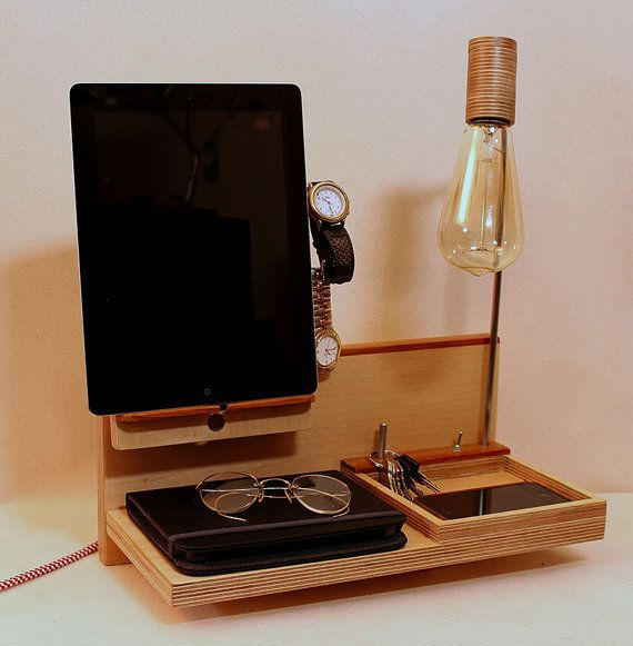Charging Station Organizer Welland Bamboo Phone Tablet