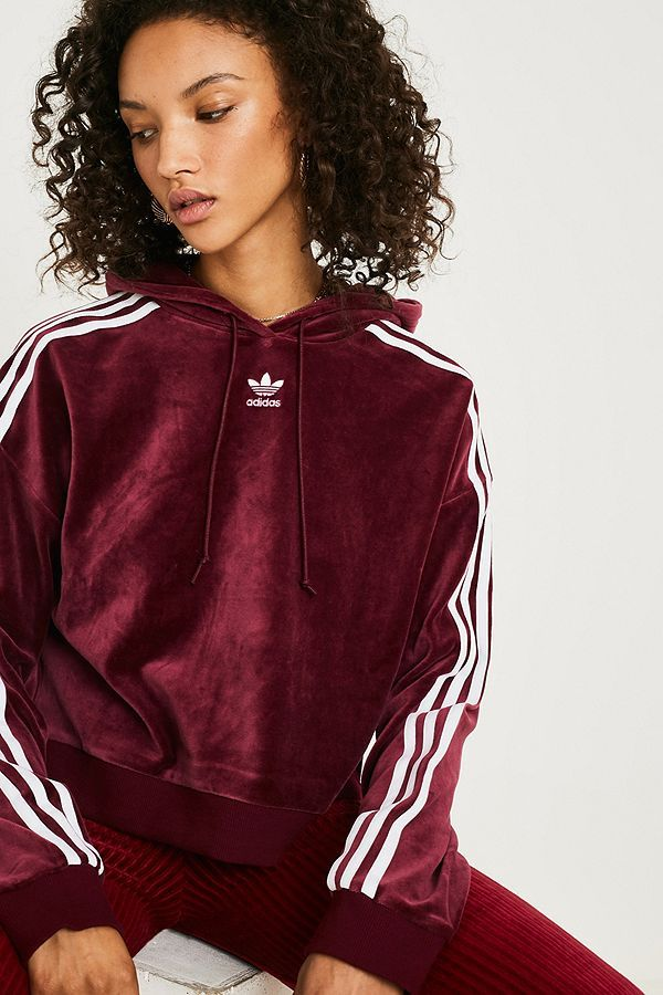 HoodieShopping Originals Velour Cropped Maroon Adidas Spree Fl1JcTK