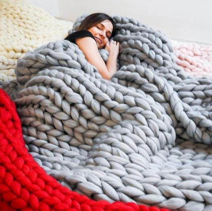 Official Chunky Knitted Blanket Giant Knit Blanket Knitted Blankets Large Knit Blanket