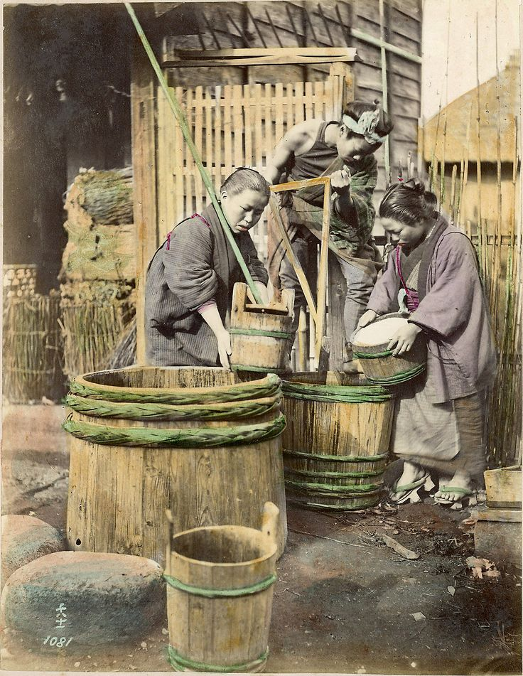 [Women with wooden barrels], [1860 - ca. 1900].  Contained in: 	Henry and Nancy Rosin Collection of Early Photography of Japan, 1860 - ca. 1900 1,470×1,900 pixels