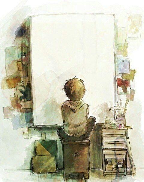 В ожидании вдохновения. Маленький мальчик ждет. Мальчик и чистый холст. Картина: мальчик у окна. Живопись. Art.