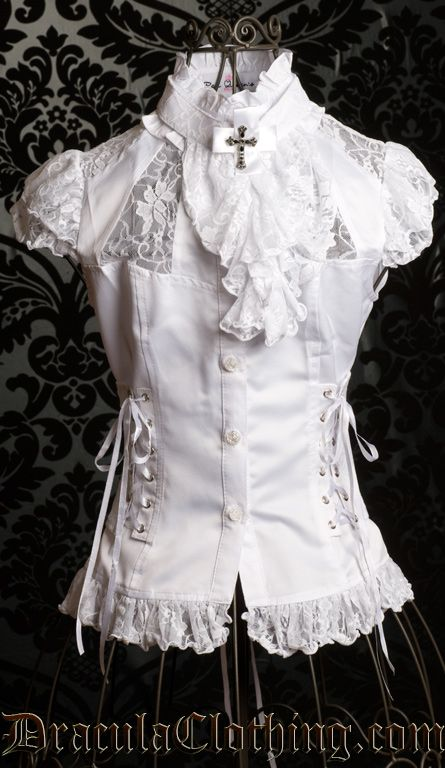 White Steampunk Blouse 8