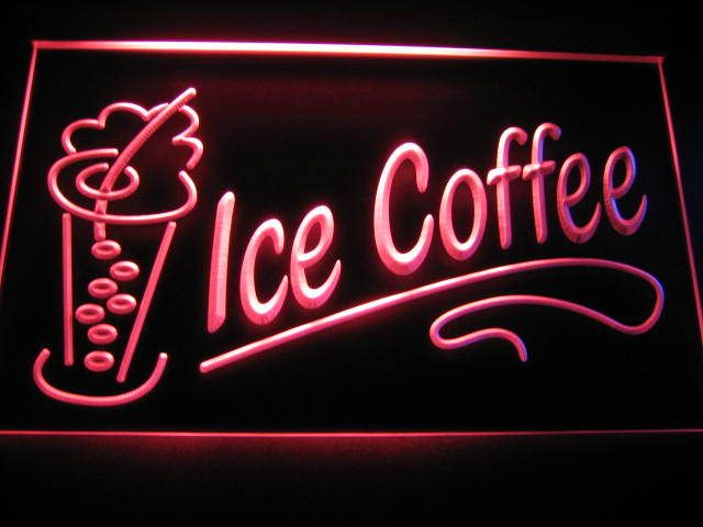 Ice Coffee Logo Store Light Sign