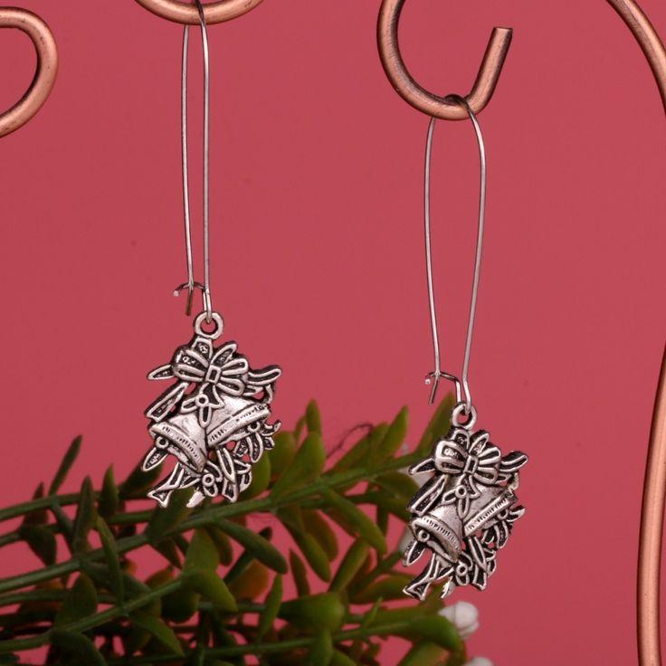 HOT Fashion 20pairs Tibetan Silver Christmas bells Charms Drop/Dangle Earrings For Girls Women DIY  A822 Free Shipping