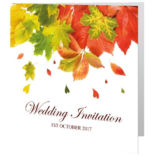 Wedding Day Invite - Falling Leaves. Unique, affordable invitations. Design online easily. Reasonable price. Set the tone & expectations for your wedding-day-invite-falling-leaves. Printed in Ireland. Free Envelopes & Free Delivery Ireland
