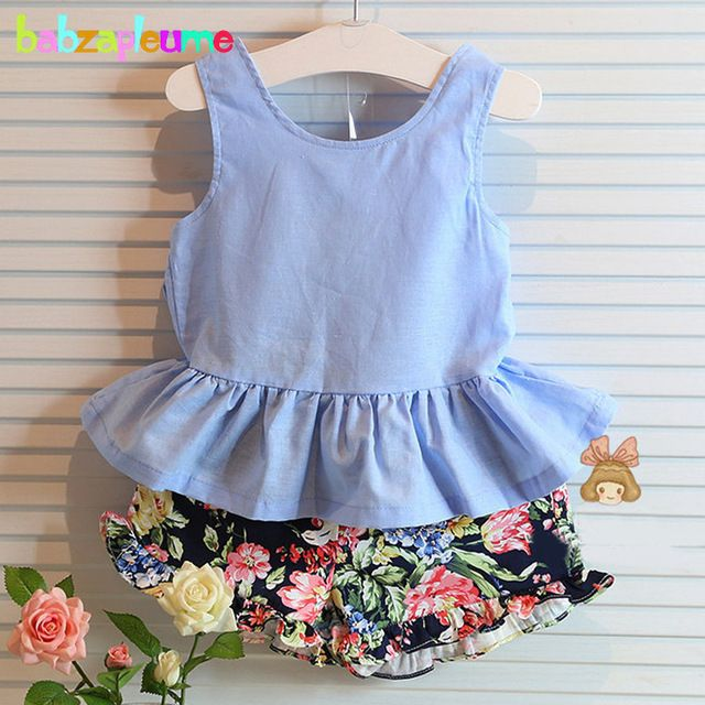 2016 Summer Kids Girls Clothes Flowers Brands Bow Backless Vest+Shorts 2pcs Baby Suits Toddler Girls Clothing Set 0-7Year BC1358