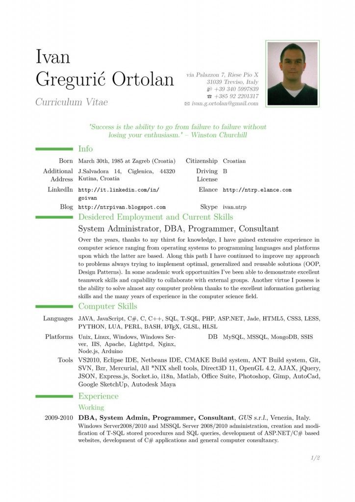 25 best ideas about Latex Resume Template – Curriculum Vitae Format