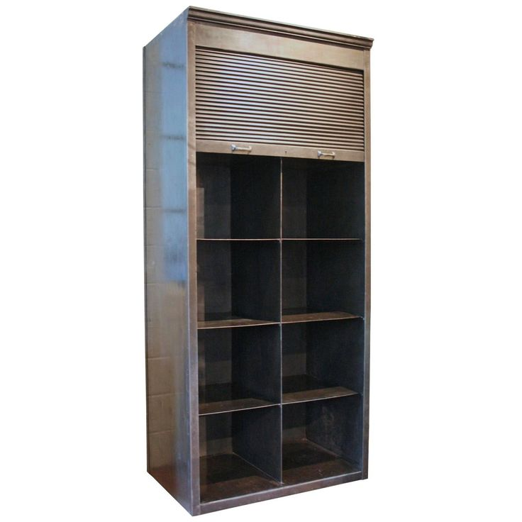Buy Vintage Strafor Steel Roll Front Bookcase by Avantgarden - Limited Edition designer Furniture from Dering Hall's collection of Industrial Mid-Century / Modern Transitional Bookcases & Étageres.
