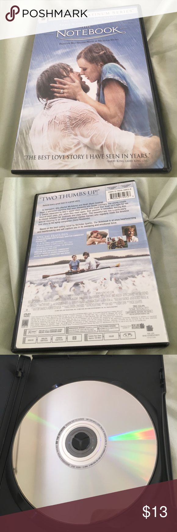 *FINAL PRICE DROP* - The Notebook DVD The Notebook DVD. Comes from best selling Nicholas Sparks Novel. In good condition. Ships same or next day!  I 💓 bundles. Check out the other DVDs listed for good bundle ideas Other