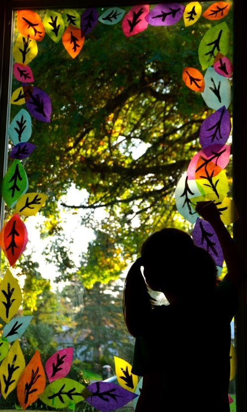 Decorate the windows for Fall ( with kids made leaves ) - Was about to do this but did notthink to use tissue paper. Great idea!