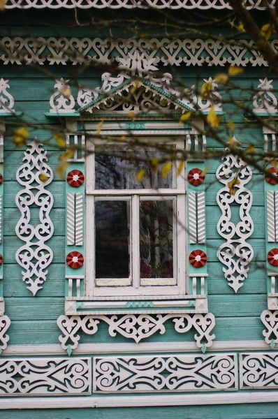 Inspiration: Russian wooden house in the town of Uglich. Window with openwork carved decorations. #Russia #wooden #house