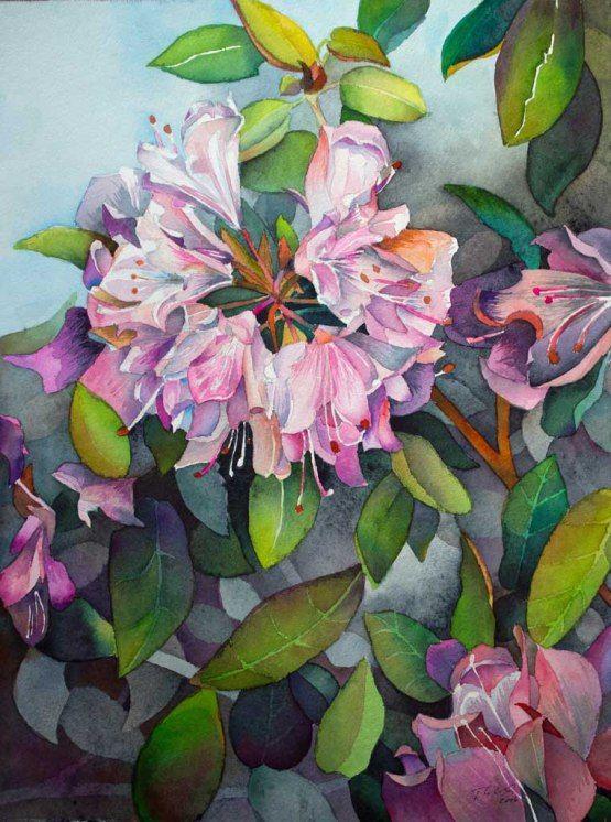 Vorbereitung für unsere Ausstellung im Rostocker Zoo | Blütenpracht des Rhododendrons (c) Aquarell von Frank Koebsch
