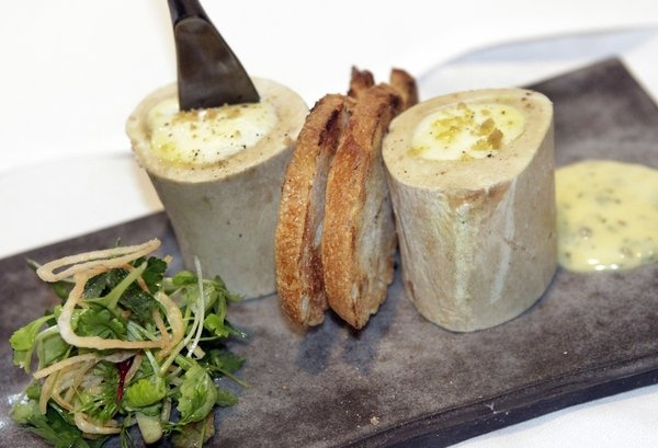 Spago: Cold veal tartare stuffed with smoked mascarpone cheese is made to look like marrow bones.