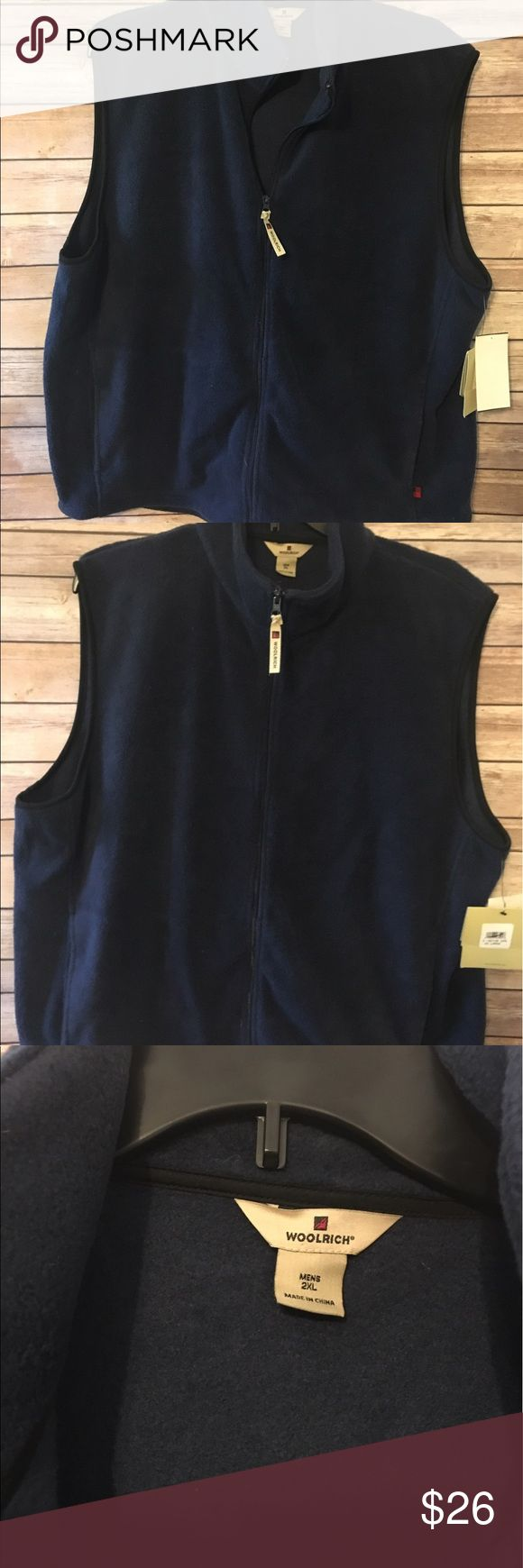 Men's woolrich fleece vest new with tags Navy blue zip up woolrich fleece vest size 2xL new with tags Woolrich Sweaters V-Necks